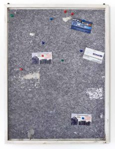 Fiona Connor, Community Notice Board (Laundry),  2015, custom corkboard, paint, silkscreen and UV print on aluminum plates, pins, vinyl, staples