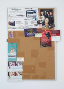 Fiona Connor, Community Notice Board (Café), 2015, corkboard, silkscreen and UV print on steel plates, pins