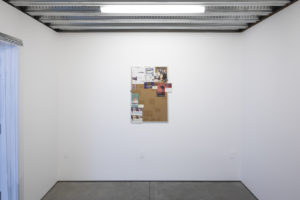 Fiona Connor, Community Notice Board (Café), 2015, corkboard, silkscreen and UV print on steel plates, pins