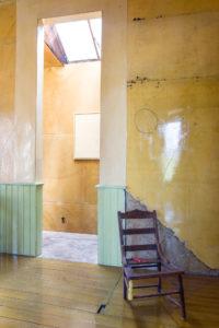 David Ireland, Three-Legged Chair, 1978; Wooden chair, paint, metal chain and journal
