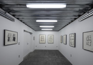 Installation view, framed David Ireland floor plan drawings, 1976-1977; Mixed media