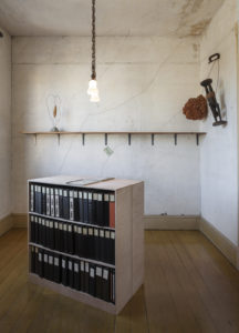 Jo Hanson, Art that's Sweeping the City, Volume 1-103, 1970-1998, mixed media with two wooden cabinets