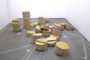 Isabel Nuño de Buen, Untitled (three pillar system), 2017, cardboard, wood glue, varnish