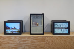 (Left) Judy Chicago Video documentation of: Pink Atmosphere, Cal State Fullerton, Fullerton, CA, 1971 Bridge Atmosphere, Cal State Fullerton, Fullerton, CA, 1971 Campus White Atmosphere, Cal State Fullerton, CA, 1971 Courtesy the artist and Through the Flower Archives