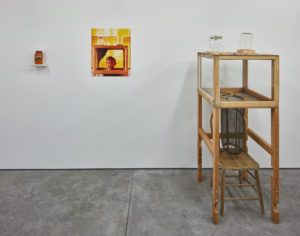 Mark Thompson, A House Divided, 1989 Live-­‐in hive apparatus, chair, wood, glass, bee netting, hardware, bottles, plastic tubing, brass valves