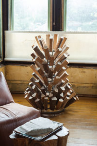 David Ireland, Duchamp's Tree, 1996; Branded alder wood and steel bottle rack; Private Collection
