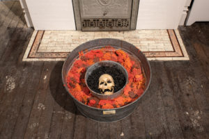 """Mike Kelley """"Towhead n'Ganga, enclosed in darkness, lorded over by the sexualized -folded -high priestless form"""", 1996. Mixed media, enamel on wood, steel and aluminum buckets, popcorn mixed with acrylic polymer, dirt and plastic. Courtesy of KADIST San Francisco"""