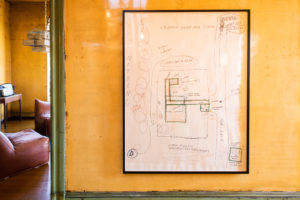 """Mike Kelley """"Repressed Spatial Relationships Rendered as Fluid, No. 4: Stevenson Junior High and Satellites"""", 2002. Framed drawing, mixed media on paper. Collection of the Walker Art Center, Minneapolis.T.B. Walker Acquisition Fund, 2003"""