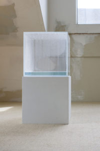 Hans Haacke, Condensation Cube, 1971. Clear acrylic, distilled water, climate in area of display, 10 x 10 x 10 inches. Courtesy of the artist and Paula Cooper Gallery, New York. Private collection, San Francisco