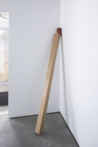 Felipe Dulzaides, Self Portrait, 2020. Wood and clay.